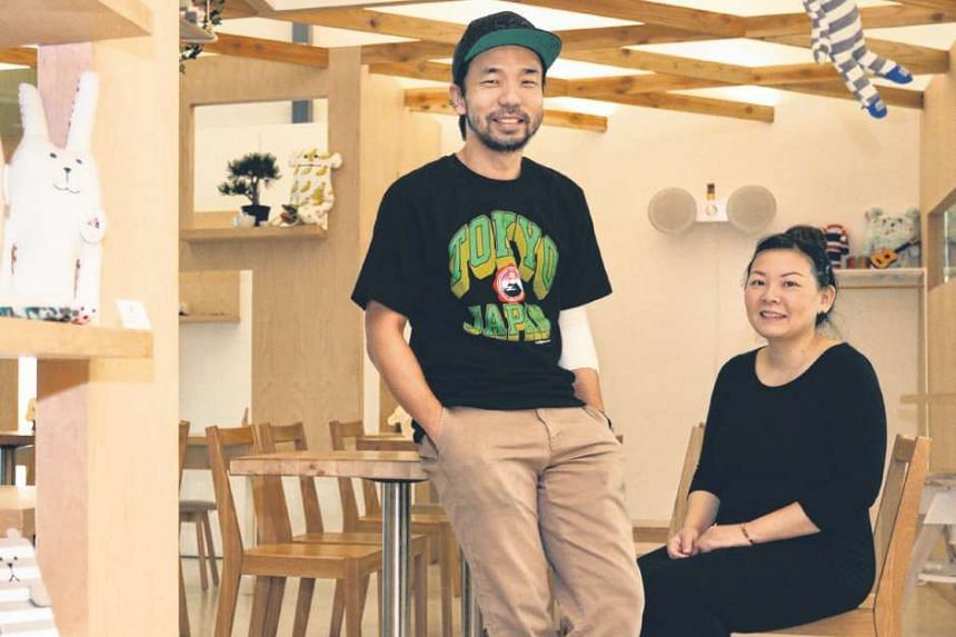Kki Sweets co-founder Delphine Liau and her husband Kenneth Seah, 44, whom she runs the business with. After sales were affected by people cutting back on spending, they teamed up with Japanese plush toy retailer Craftholic to set up a themed cafe. T