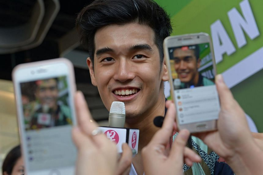 Nathan Hartono speaking to the media at Bugis+ on Oct 15, 2016.