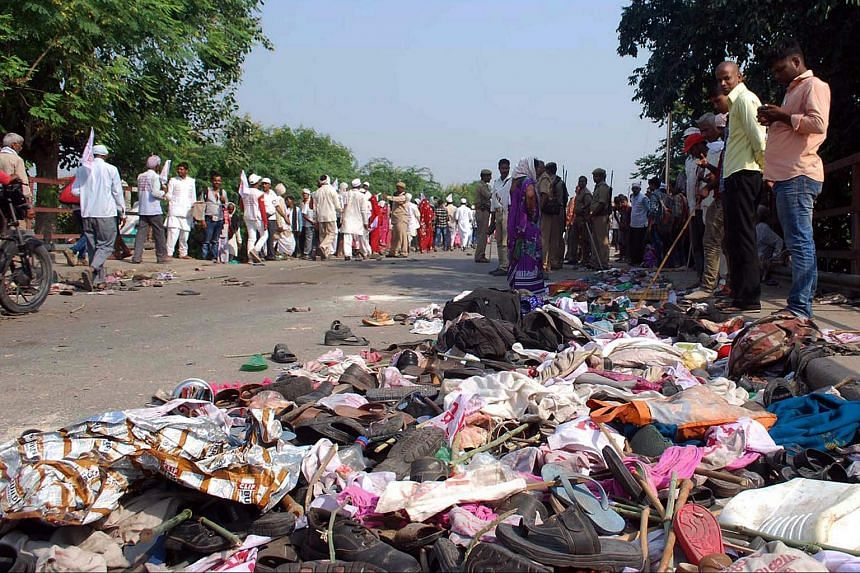 Belongings of the victims of a stampede at the Rajghat bridge, near Varanasi, India on Oct 15, 2016.