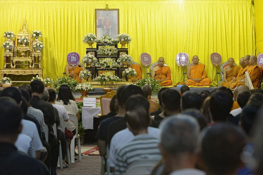 Prayer session for the late Thai King Bhumibol Adulyadej at Wat Ananda Metyarama Thai Buddhist Temple in Jalan Bukit Merah on Oct 15, 2016.