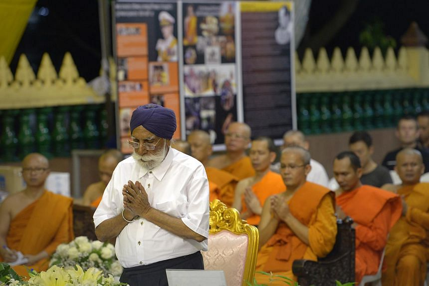 Mr Harbans Singh, 86, of the Sikh faith and the treasurer in the Inter-Religious Organisation (IRO) is one of the leaders from IRO who turned up at Wat Ananda Metyarama Thai Buddhist Temple for a prayer sesion for the late Thai King Bhumibol Adulyade