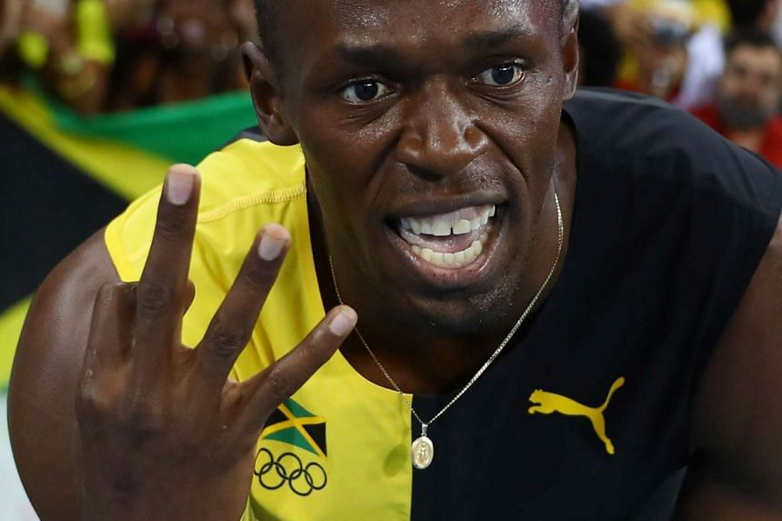 Usain Bolt of Jamaica celebrates winning the Jamaican team's gold medal at the 2016 Rio Olympics on Aug 19, 2016.