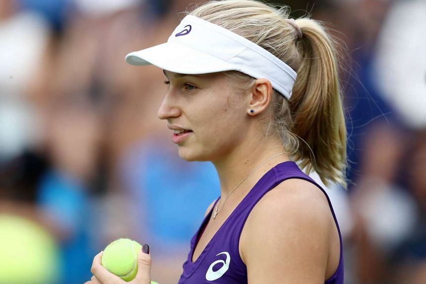 Daria Gavrilova of Australia at her first round Women's Doubles match on Day Four of the 2016 US Open at the USTA Billie Jean King National Tennis Center on Sept 1, 2016