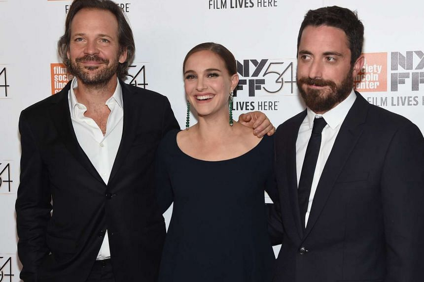 Actors Natalie Portman and Peter Sarsgaard pose with director Pablo Larrain attend the 54th New York Film Festival Jackie screening intro and Q&A at Alice Tully Hall, Lincoln Center on Oct 13, 2016 in New York City.