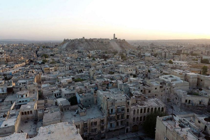 A general view taken with a drone shows Aleppo's historic citadel, ravaged by war.
