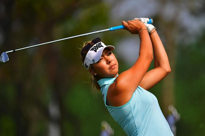 Alison Lee tees off on the 3rd hole during the third round of the LPGA KEB Hana Bank Championship golf event on Oct 15, 2016.