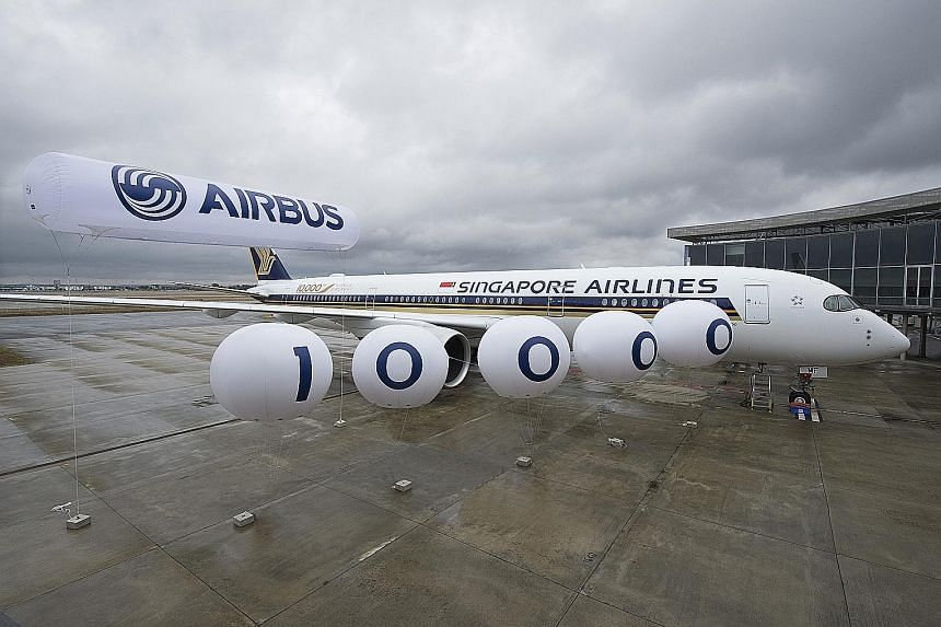 """Singapore Airlines' new Airbus A-350 is also the 10,000th aircraft that the European manufacturer has delivered. A special """"10,000th Airbus"""" logo has been included in the plane's livery to mark the occasion."""