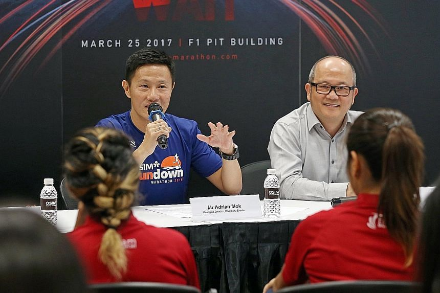 HiVelocity Events managing director Adrian Mok believes two factors favouring the Sundown Marathon's expansion are that it offers the full marathon and the race's overnight element. With him is Ron Sim, sponsor Osim's founder, chairman and chief exec
