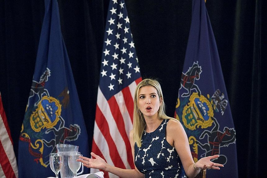 """Ms Ivanka Trump answering non-challenging questions from supporters during a """"coffee with Ivanka"""" event in Ivyland, Pennsylvania, on Thursday. She avoided mentioning accusations of groping by her father."""