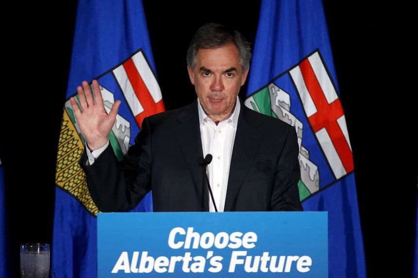 Prentice reacts after losing the Alberta election in Calgary, Alberta, on May 5, 2015.