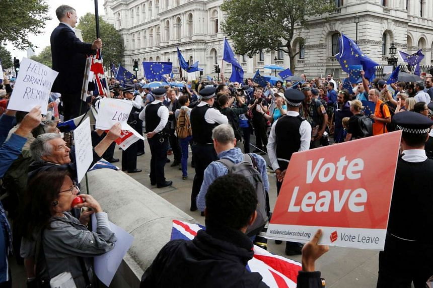 Brexit supporters forming a counter demonstration against pro-Europe demonstrators during a protest against the Brexit vote result in London last month. The writer says what the world lacks most is not more economics or politics, but a philosophy about in