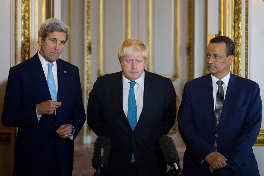 (From left) US Secretary of State John Kerry, British Foreign Secretary Boris Johnson and UN Special Envoy for Yemen Ismail Ould Cheikh Ahmed make a joint statement on Yemen at Lancaster House in London on Oct 16, 2016.