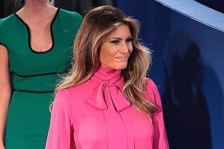 Some thought Mrs Trump's pussy-bow blouse at the St Louis debate was her way of screaming her disgust with her husband's use of the word, while others viewed it as a way of sartorially standing by him.