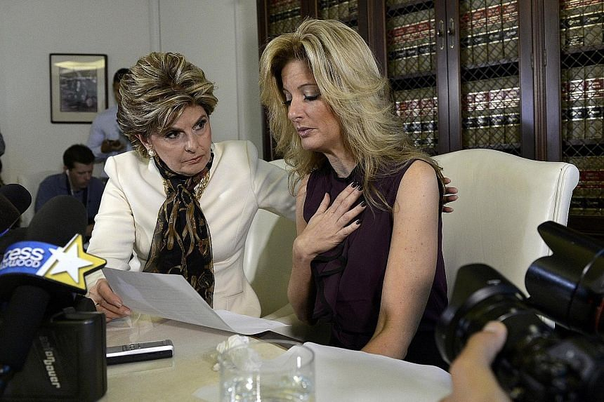 Ms Zervos (right) telling her story, with lawyer Gloria Allred beside her, at a news conference in Los Angeles on Friday. She claimed that the incident occurred at Mr Trump's bungalow suite at the Beverly Hills Hotel in 2007.