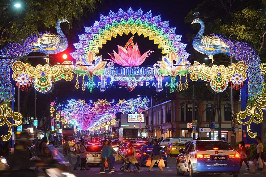 The two 20m-tall peacocks with cascading tails, part of this year's Deepavali light-up, have caused many in the area to whip out their mobile phones to snap pictures. The dazzling light-up, which includes an elephant lantern and lotus- shaped lights,
