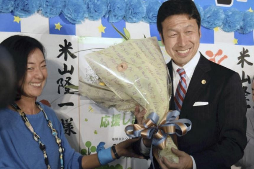 Mr Ryuichi Yoneyama won the race for governor of Niigata on the back of an anti-nuclear campaign, on Oct 16, 2016.