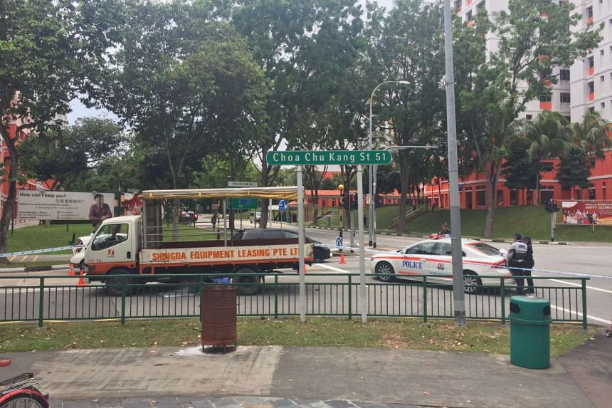An elderly woman died on Sunday (Oct 16) after being hit by a lorry at the junction of Choa Chu Kang Street 51 and Choa Chu Kang North 5.