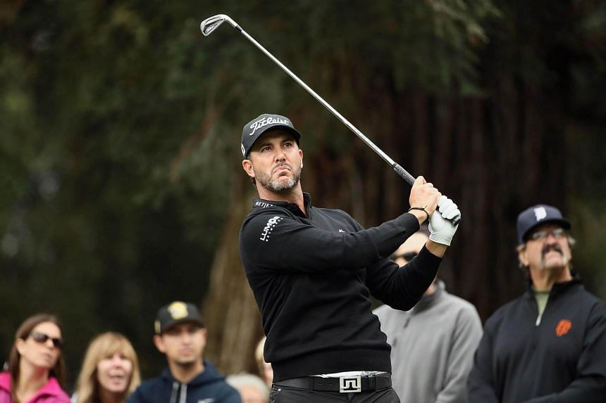 Scott Piercy tees off on the seventh hole during the third round of the Safeway Open.