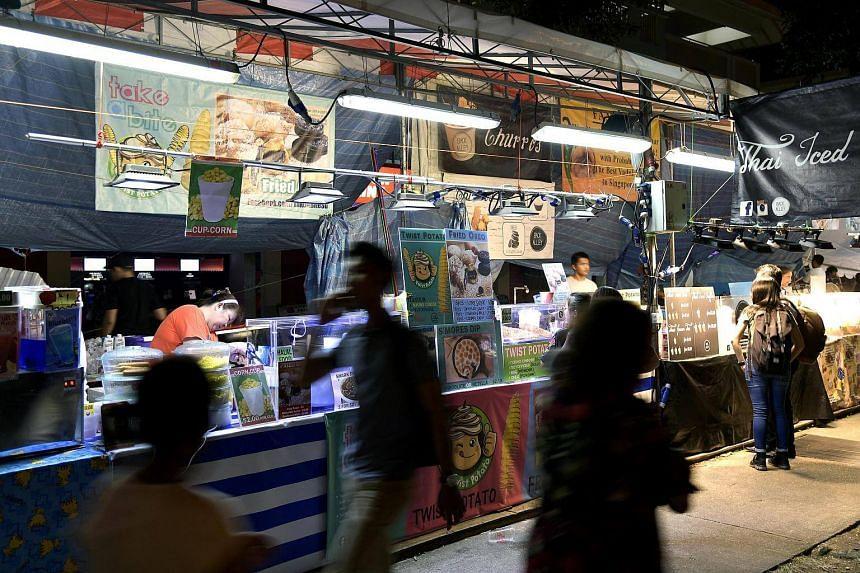 A view of the Pasar Malam stalls at Serangoon Central.