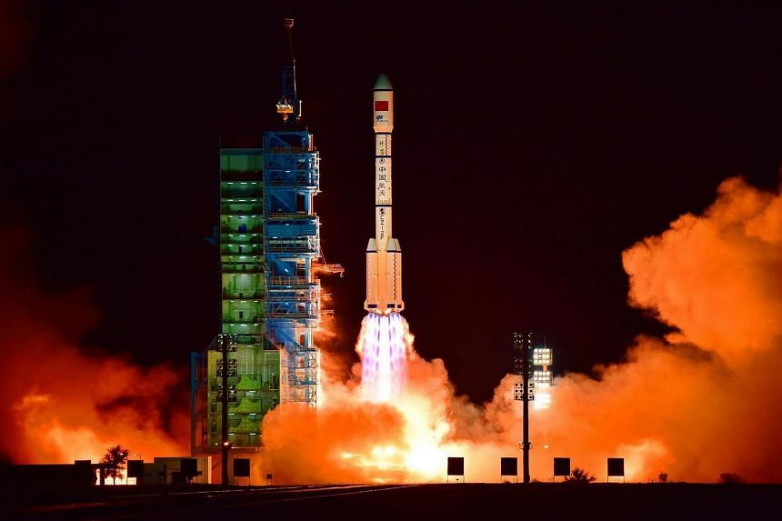 China's Tiangong 2 space lab is launched on a Long March-2F rocket from the Jiuquan Satellite Launch Center in the Gobi Desert, in China's Gansu province, on Sept 15, 2016.