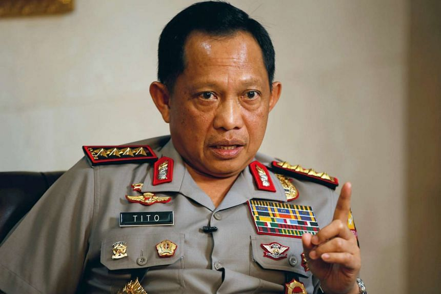 Indonesia's National Police chief General Tito Karnavian gestures during an interview with Reuters at police headquarters in Jakarta on Oct 17, 2016.