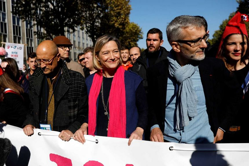 """Ludovine de La Rochere, president of the anti-gay marriage movement La Manif Pour Tous takes part in the """"La Manif Pour Tous"""" (Demonstration For All) to protest against PMA (Procreation Medicalement Assistee or Medically Assisted Reproduction) and GP"""