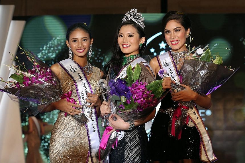 Miss Universe Singapore 2016 Cheryl Chou (centre) with first runner-up Tanisha Khan (left) and second runner-up Sonya Branson. Ms Chou also snagged two other titles: Miss Photogenic and Miss Aspirational.