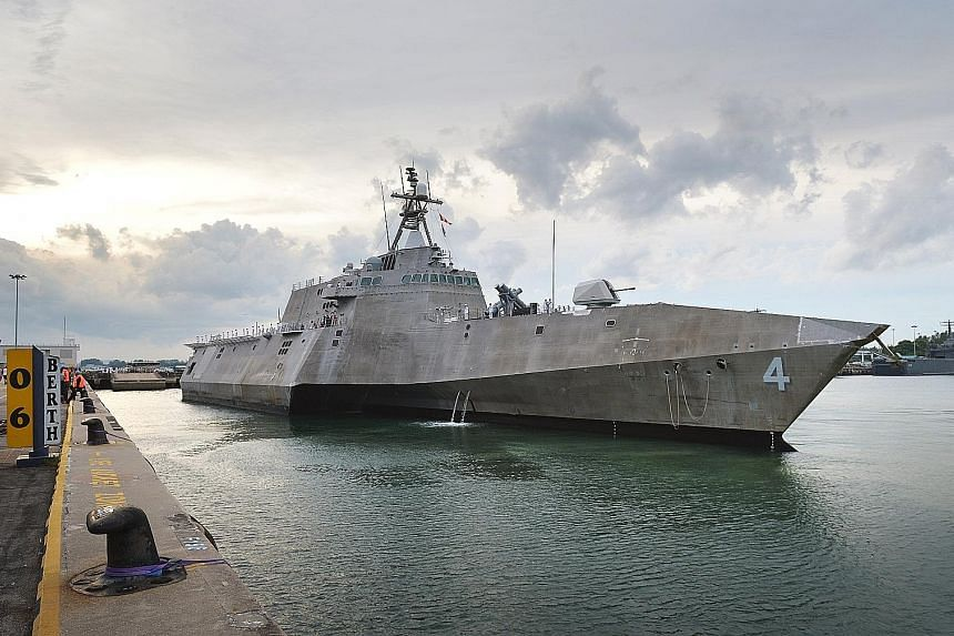 A United States combat ship designed to operate close to shore arrived here yesterday to begin a deployment in the Indo-Asia-Pacific region. USS Coronado's arrival marks the first time an Independence-variant littoral combat ship has been deployed to