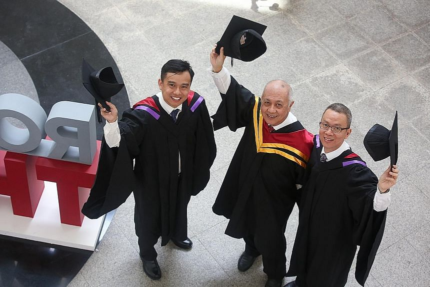 From far left: Mr Jon Tan, 40, Mr George Thia, 67; and Mr Lee Kam Hoong, 46; were among 2,400 students who received their degree scrolls over five sessions at the 11th UniSIM convocation.