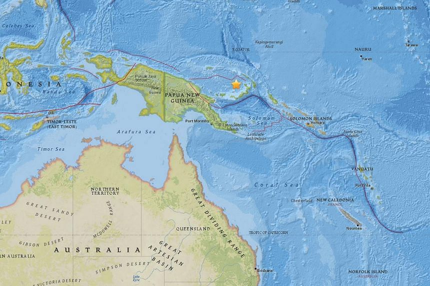 A 6.9-magnitude struck off the coast of New Britain island in Papua New Guinea on Oct 17, 2016.