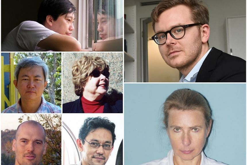 Stand a chance to win tickets to events featuring (clockwise from top left) Gwee Li Sui, Frederik Obermaier, Lionel Shriver, Farish Noor, Jonathan Friesen, Boey Kim Cheng and Marjorie Perloff at the Singapore Writer's Festival.