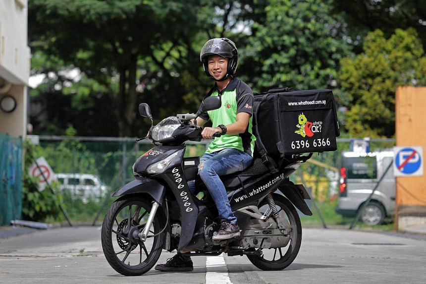 Mr Gerry Tan, 25, who is a delivery man for What To Eat Delivery Pte Ltd.