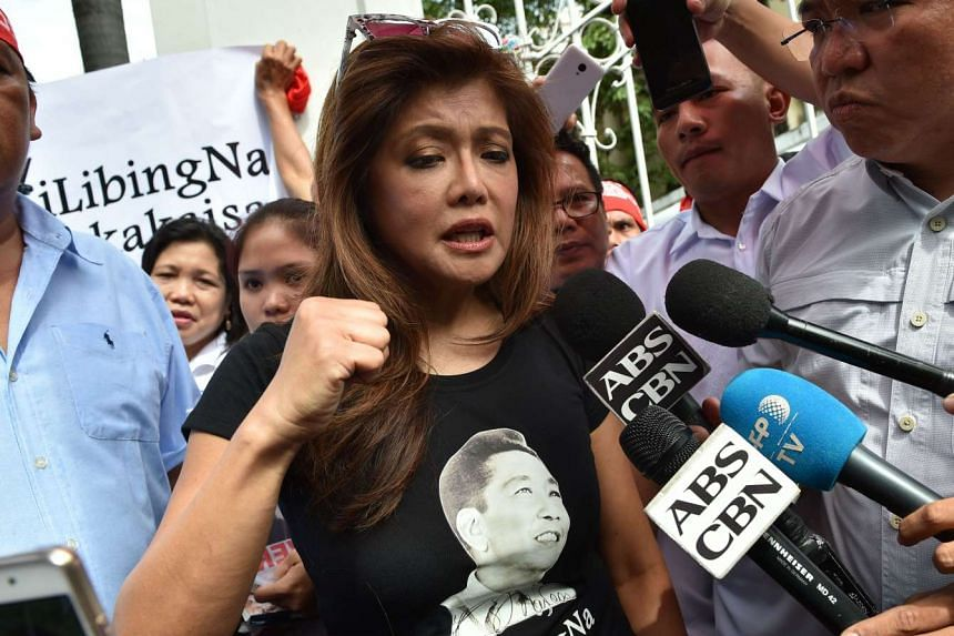 Imee Marcos gestures during an interview at the start of a vigil in front of the Supreme Court in Manila on Oct 17, 2016.