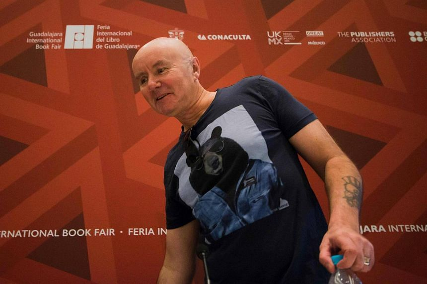 British author Irving Welsh at a press conference on underground literature in Guadalajara, Mexico, on Dec 1, 2015.