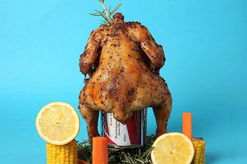 OverEasy Orchard's Beer Can Roast Chicken ($58).