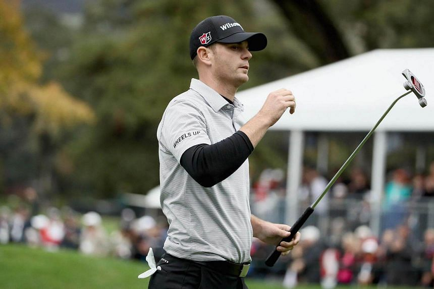 Brendan Steele reacts to his putt on the 18th hole during the final round of the Safeway Open.