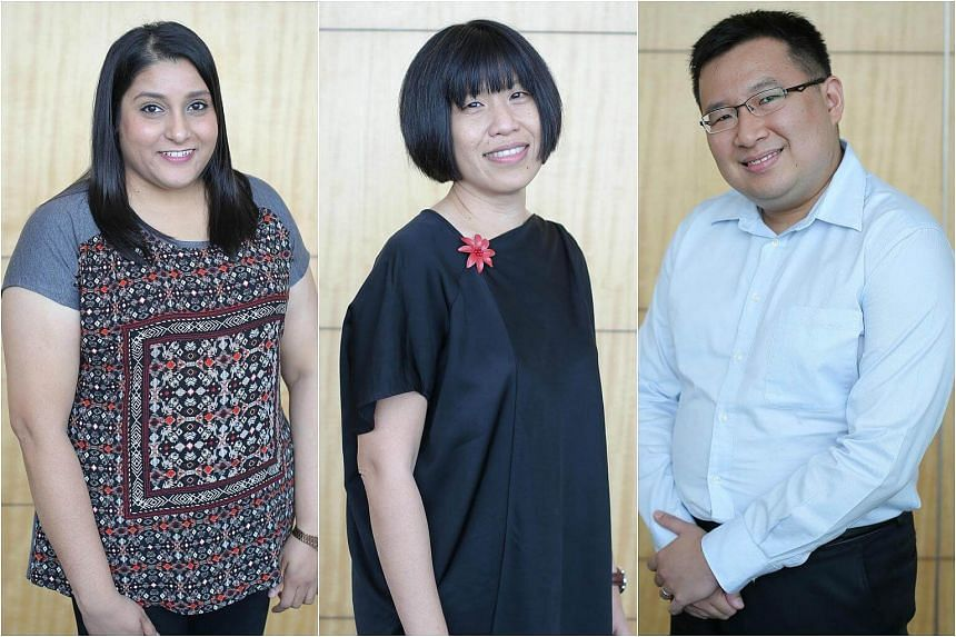 From left: Ms Naznin Rehana Begum, Ms Foo Soo Ling and Mr Ian Tan Xin Long have been honoured with the Inspiring Teacher of English Award.
