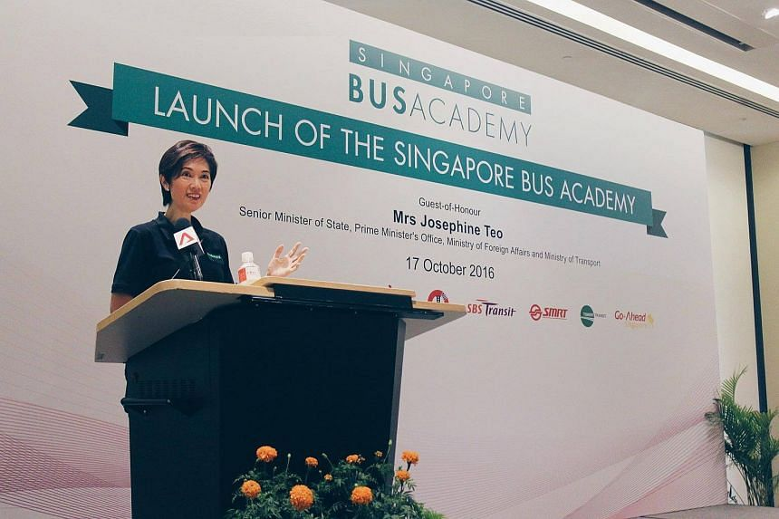 Senior Minister of State for Transport Josephine Teo speaks at the launch of the academy.