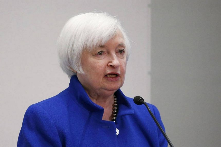 US Federal Reserve chair Janet Yellen speaks at a conference in Boston, Massachusetts.