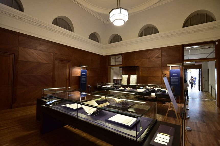Singapore's constitutional documents on display at the National Gallery.