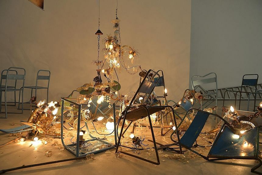 Theatre State (above) by Jompet Kuswidananto, is a multi-media work that includes videos, photographs and sculptures.