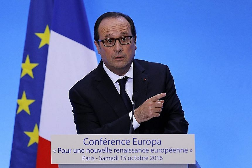 Mr Hollande speaking in Paris on Saturday. The new book by two journalists is based on 100 hours of interviews.