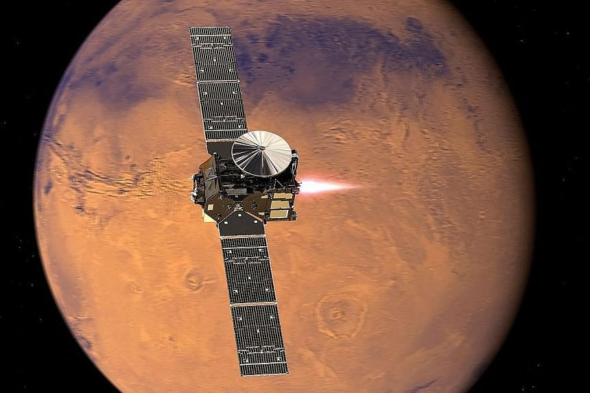 An artist's impression of the TGO beginning its entry into Mars' orbit. Its job will be to sniff the Red Planet's thin, carbon dioxide-rich atmosphere for gases possibly excreted by living organisms.