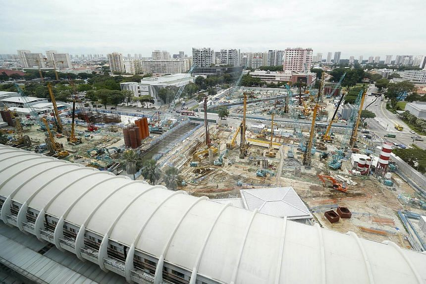 Construction site of Paya Lebar Quarter, , an urban regeneration mixed-use development bringing together progressive workplaces, dining, shopping and generous green public spaces.