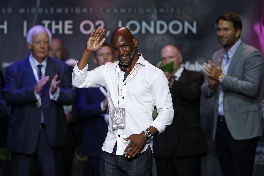 Bernard Hopkins during the weigh-in prior to his match against Kell Brook.
