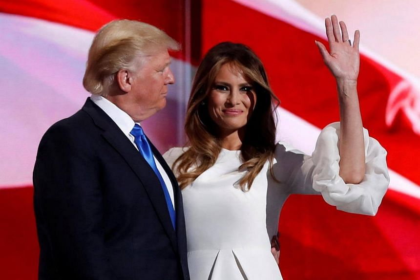 Melania Trump with her husband Donald Trump at the Republican National Convention in Cleveland, Ohio, on July 18, 2016.