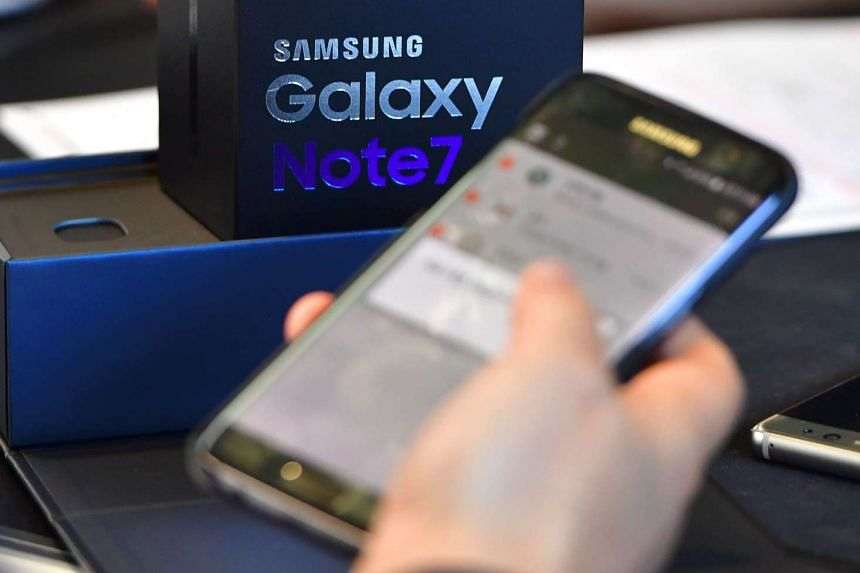 A Samsung Galaxy Note7 smartphone at a shop in Seoul on Sept 19, 2016.