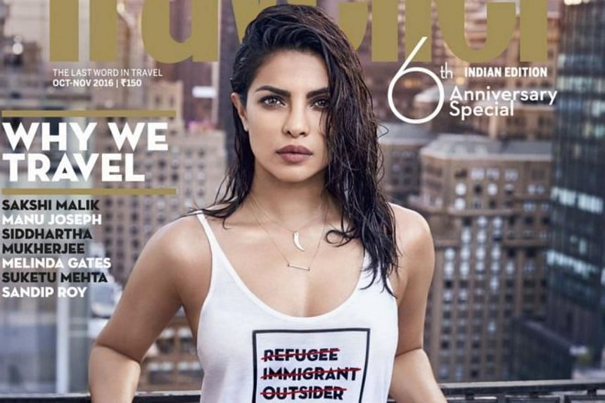 Priyanka Chopra on Monday apologised for wearing an insensitive white T-shirt on the cover of Conde Nast Traveller India.