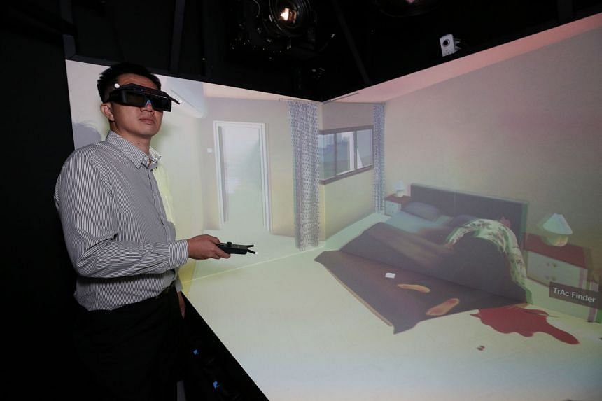 A Home Team officer investigating a simulated crime scene at the Human Performance Centre. Launched yesterday, the place is a scientific research facility that deploys cutting-edge technology to advance the Home Team's operative capabilities.