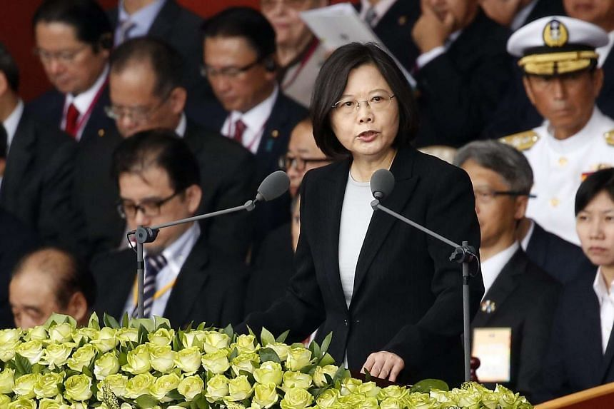 Taiwanese President Tsai Ing-wen (right) speaks during the National Day of the Republic of China celebration in Taipei on Oct 10, 2016.